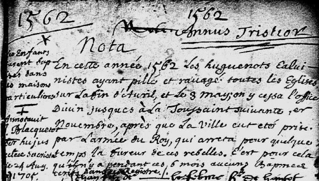 1562 Annus Tristior Saint André de la Ville