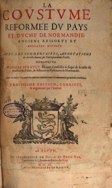Coustume de Normandie 1620